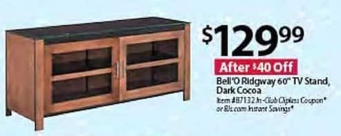 "BJs Wholesale Black Friday: Bell'O Ridgway 60"" Dark Cocoa TV Stand for $129.99"