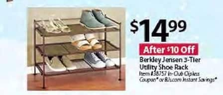 BJs Wholesale Black Friday: Berkley Jensen 3-Tier Utility Shoe Rack for $14.99
