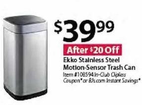 BJs Wholesale Black Friday: Ekko Stainless Steel Motion-Sensor Trash Can for $39.99