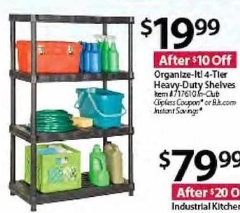 BJs Wholesale Black Friday: Organize-It! 4-Tier Heavy Duty Shelves for $19.99
