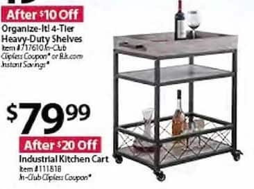 BJs Wholesale Black Friday: Industrial Kitchen Cart for ...