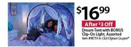 BJs Wholesale Black Friday: Dream Tent w/ Bonus Clip-On Light for $16.99