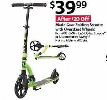BJs Wholesale Black Friday: Madd Gear Folding Scooter for $39.99
