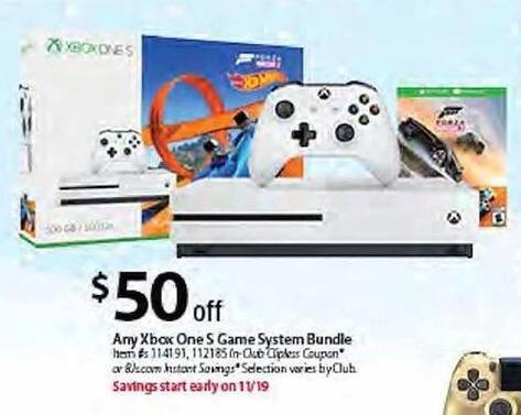 BJs Wholesale Black Friday: Any Xbox One S Game System Bundle - $50.00 Off