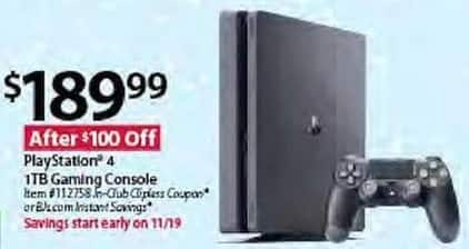 BJs Wholesale Black Friday: PlayStation 4 1TB Gaming Console for $189.99