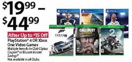 BJs Wholesale Black Friday: Xbox One Video Games for $19.99 - $44.99