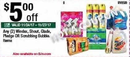 BJs Wholesale Black Friday: Any (2) Windex, Shout, Glade, Pledge, Or Scrubbing Bubbles. - $5.00 Off