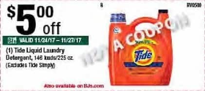 BJs Wholesale Black Friday: Tide 146 Loads/225-oz. Liquid Laundry Detergent - $5.00 Off