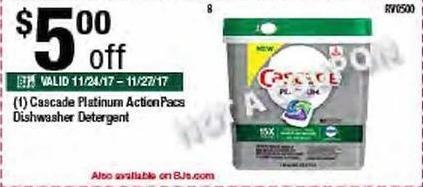 BJs Wholesale Black Friday: Cascade Platinum ActionPacs Dishwasher Detergent - $5.00 Off