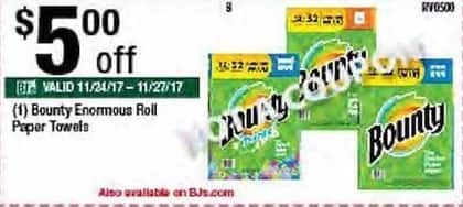 BJs Wholesale Black Friday: Bounty Enormous Roll Paper Towels - $5.00 Off