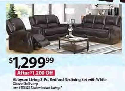 BJs Wholesale Black Friday: Abbyson Living 3-pc. Bedford Reclining Set w/ White Glove Delivery for $1,299.99