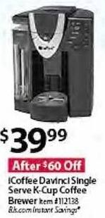 BJs Wholesale Black Friday: iCoffee Davinci Single Serve K-Cup Coffee Brewer for $39.99