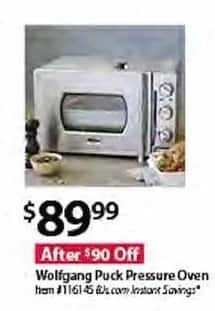 BJs Wholesale Black Friday: Wolfgang Puck Pressure Oven for $89.99