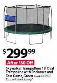 BJs Wholesale Black Friday: Skywalker Trampolines 16-ft. Oval Trampoline w/ Enclosure & Toss Green Game for $299.99