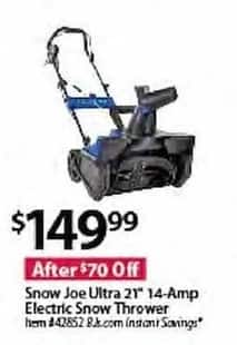 BJs Wholesale Black Friday: Snow Joe Ultra 21-in. 14-Amp Electric Snow Thrower for $149.99