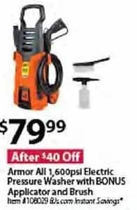 BJs Wholesale Black Friday: Armor All 1600psi. Electric Pressure Washer w/ Bonus Applicator & Brush for $79.99