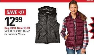 Shopko Black Friday: Juniors' Vests for $12.99