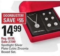 Shopko Black Friday: Spotlight Silver Plate Cubic Zirconia Boxed Set for $14.99