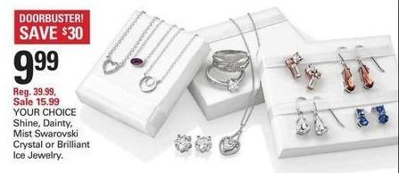 Shopko Black Friday: Shine, Dainty Mist Swaroski Crystal Or Brilliant Ice Jewelry for $9.99