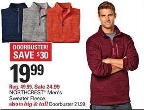 Shopko Black Friday: Northcrest Men's Sweater Fleece for $19.99