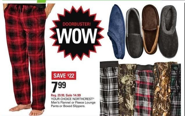 Shopko Black Friday: Northcrest Men's Flannel Pants for $7.99