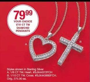 Belk Black Friday: 1/10 ct tw Diamond Pendants, Select Styles for $79.99