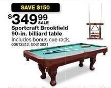 Sears Black Friday: Sportscraft Brookfield 90-in. Billiard Table w/ Bonus Cue Rack for $349.99