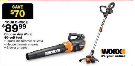 Sears Black Friday: Choose Any Worx 40-Volt Tool Blower for $89.99