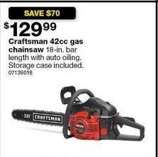 Sears Black Friday: Craftsman 42cc 18-in. Bar Length Gas Chainsaw w/ Storage Case for $129.99