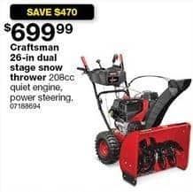 Sears Black Friday: Craftsman 26-in. 208cc Dual Stage Snow Thrower for $699.99
