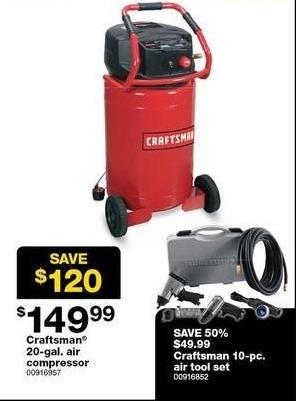 Sears Black Friday: Craftsman 20-gal. Air Compressor for $149.99