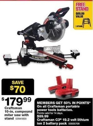 Sears Black Friday: Craftsman 10-in. Compound Miter Saw w/ Free Stand for $179.99