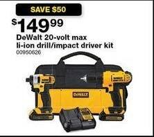 Sears Black Friday: DeWalt 20V Max Li-Ion Drill/ Impact Driver Kit for $149.99