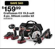 Sears Black Friday: Craftsman C3 19.2V 4-pc. Lithium Combo Kit for $159.99