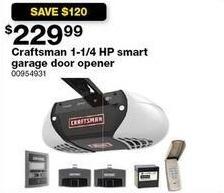Sears Black Friday: Craftsman 1-1/4 HP Smart Garage Door Opener for $229.99
