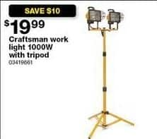 Sears Black Friday: Craftsman Work Light 1000W w/ Tripod for $19.99