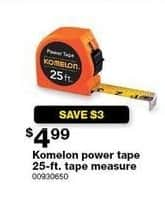 Sears Black Friday: Komelon Power Tape 25-ft. Tape Measure for $4.99