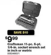 Sears Black Friday: Craftsman 11-pc. 6-pt. 1/4-in. Inch Socket Wrench for $9.99
