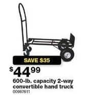Sears Black Friday: Convertible 600-lb. Capacity 2 Way Hand Truck for $44.99