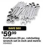 Sears Black Friday: Craftsman 20-pc. Inch Ratcheting Wrench Set for $59.99