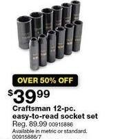 Sears Black Friday: Craftsman 12-pc. Easy To Read Metric Socket Set for $39.99