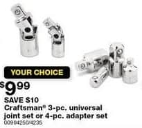 Sears Black Friday: Craftsman 3-pc. Universal Joint Set for $9.99