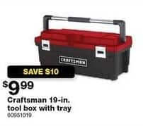 Sears Black Friday: Craftsman 19-in. Tool Box w/ Tray for $9.99