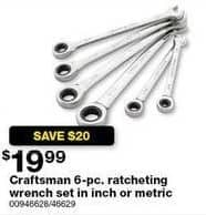 Sears Black Friday: Craftsman 6-pc. Inch Ratcheting Wrench Set for $19.99