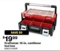 Sears Black Friday: Craftsman 18-in. Cantilever Tool Box for $19.99