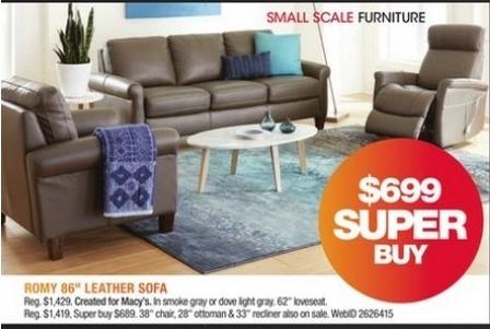 Macy's Black Friday: Romy 86'' Leather Sofa for $699.00