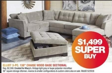 Macy's Black Friday: Elliot 3-Pc. 138'' Chaise Wood Base Sectional for $1,499.00