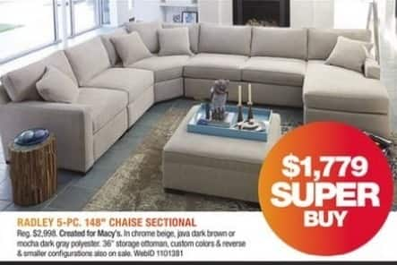Macy's Black Friday: Radley 5-Pc. 148'' Chaise Sectional for $1,779.00