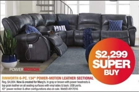 Macy's Black Friday: Rinworth 6-Pc. 134'' Power-Motion Leather Sectional for $2,299.00