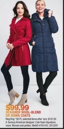 Macy's Black Friday: Designer Wool-Blend Or Down Coats for $99.99